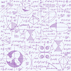 Math education vector seamless pattern with handwritten formulas, tasks, plots, calculations and geometrical figures. Endless texture handwritten in violet ink on copybook grid paper