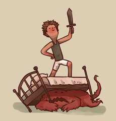 Vector cartoon image of a little boy with brown hair in white shorts and a gray T-shirt standing on a bed with a wooden sword, and a frightened red monster lying under the bed on a light background.