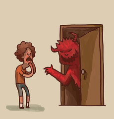Vector cartoon image of a frightened little boy with brown curly hair in blue shorts and orange T-shirt and terrible red monster with horns looks out from behind the brown door on a light background.