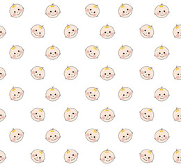 Baby faces pattern on white background