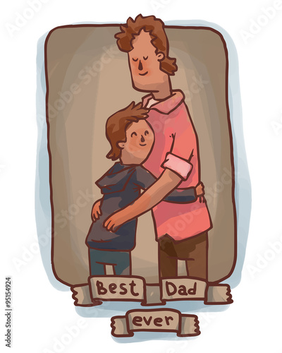 Vector brown frame with cartoon image of a man with brown hair - dad ...