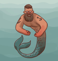 Vector cartoon image of a mermaid male with black hair and beard, wearing glasses with anchors tattoo on his shoulders with a silver tail on blue sea background.