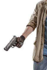 Man in black gloves with a gun