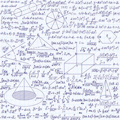 """Math vector seamless texture with equations, formulas, plots, figures and other mathematical calculations, """"handwritten on a copybook paper"""""""