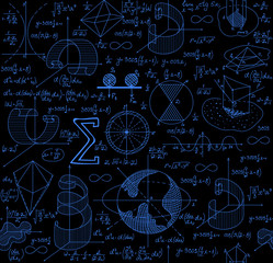 Mathematical vector seamless pattern with figures, formulas and plots, different colors