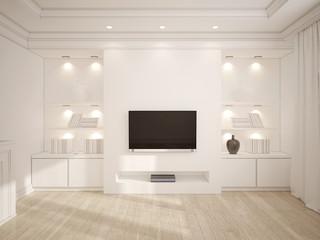3D illustration of Modern white living room with wooden furnitur