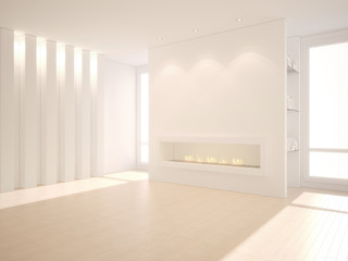 3D illustration of modern interior with fireplace