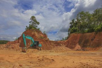 Deforestation environmental destruction rain forest jungle cleared for oil palm