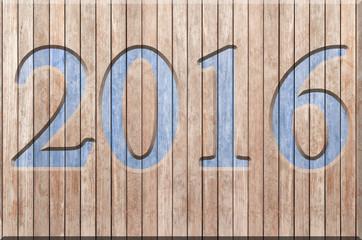 2016 sur panneau de bois