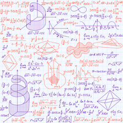 "Mathematical vector seamless pattern with formulas, plots and equations, ""blue and red pen written calculations"""