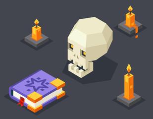Night Wisdom Magic Icon Skull Spellbook Candles Flat Design Isometric 3d Vector Illustration
