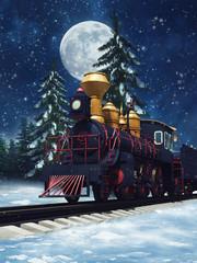 Baśniowy pociąg w zimowym lesie na tle księżyca