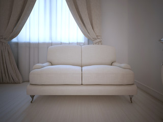 Single sofa in room, daylight