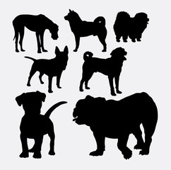 Dog silhouette collection. Good use for symbol, logo, web icon, mascot, game element, sticker, or any design you want. Easy to use.