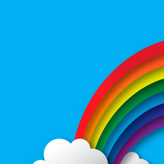 Abstract applique - paper rainbow. Stylized paper cutout clouds and rainbow..Vector illustration..