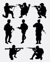 Army military training action silhouette. Good use for symbol, logo, web icon, mascot, game element, sticker, or any design you want. Easy to use.