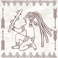 Aztec or maya of South America sitting with truncheon