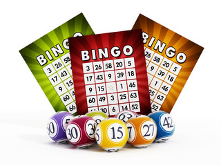 Bingo card and balls with numbers