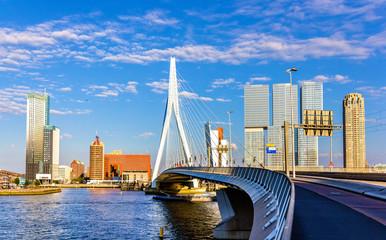 Deurstickers Rotterdam View of Erasmus Bridge in Rotterdam, Netherlands