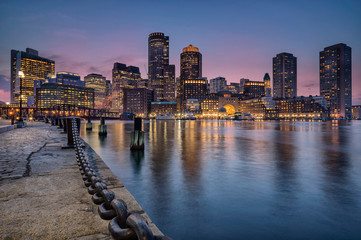 Boston waterfront and harbor