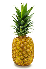 A whole pineapple against a white background.