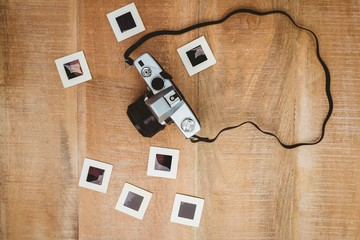 View of an old camera with photo slides