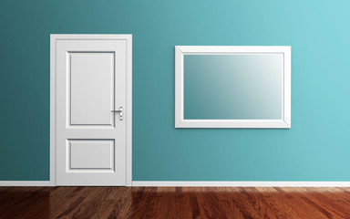 Interior with door and picture frame 3d render