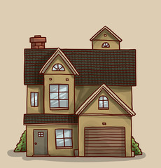 Vector cartoon image of a cute little sand color house with black roof, three floors, six windows and gray door with green spaces around on a light background.