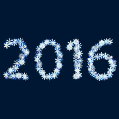 2016. The inscription of snow. New year and Christmas.