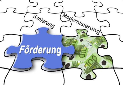 """Förderung 9 / Puzzle """"Sanierung, Modernisierung"""" mit 100-Euro-S"""