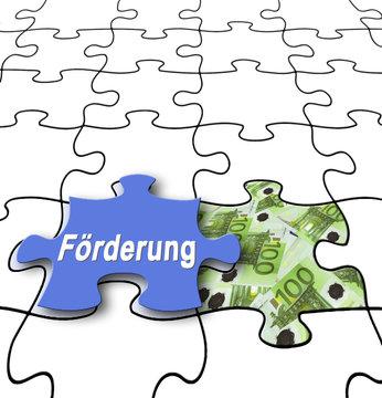Förderung 10 / Puzzle mit 100-Euro-Scheinen und Textfreiraum