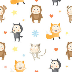 Vector seamless pattern with cartoon kids animals on white background.