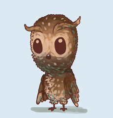 Vector Cute little owl. Cartoon image of a cute little light brown owlet on a light blue background.