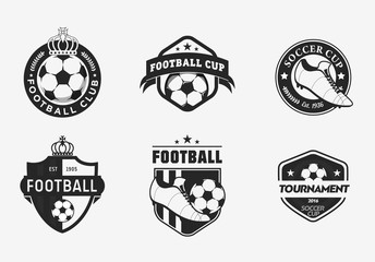 Set of vintage color football soccer championship logos