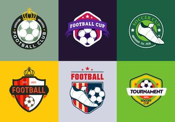 Set of vintage color football soccer championship logos