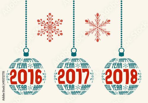 French Happy New Year graphic design elements for years 2016, 2017 ...