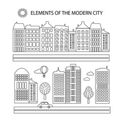 The elements of a modern city in a linear style