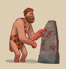 Vector Caveman making art. Cartoon image of the caveman with brown hair in leopard loincloth making art  on a gray stone on a light background.