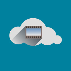 Film sign in Cloud flat design icon