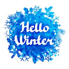 Hello winter abstract background design with snowflakes and snow