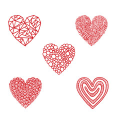 Vector Hand-drawn hearts, circles and triangles. Hand-drawn image of five red hearts symbol consisting of triangles, circles, braided lines, curls and snakes on a white background.