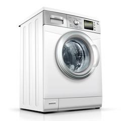 Waschmaschine, Waschvollautomat weiss, silber, freigestellt