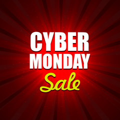 Cyber Monday Background with Sale Tag on Red. Vector