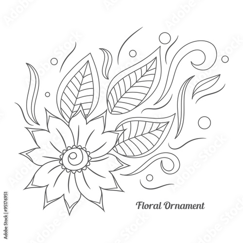 Floral Ornament In Indian Mehndi Style Hand Drawn Floral Doodle
