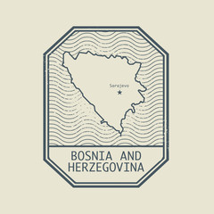Stamp with the name and map of Bosnia and Herzegovina