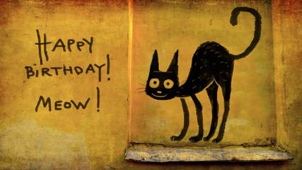 Birthday Kitten On the Wall