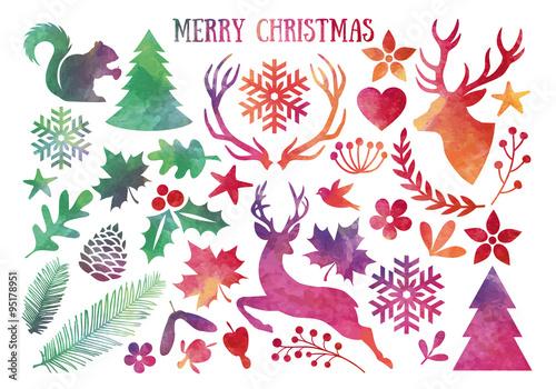 Christmas Vector Free Download.Watercolor Christmas Vector Set Stock Image And Royalty
