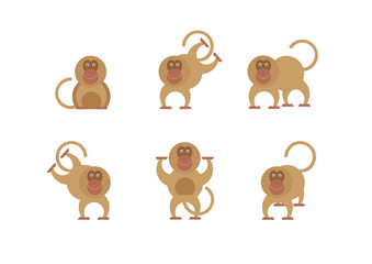 Illustration of a funny monkey in different poses.