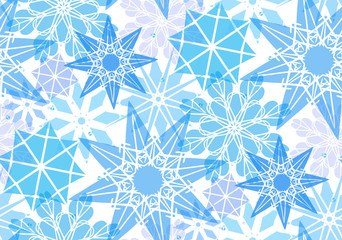 Seamless pattern with transparent snowflakes for your creativity