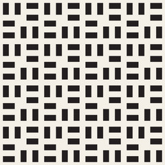 Vector Seamless  Black and White Rectangle Square Grid Simple Geometric Pattern